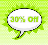 Thirty Percent Off Indicates Promo Sign And Sale — Stock Photo