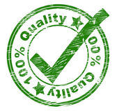 Hundred Percent Quality Indicates Pass Assurance And Stamped — Stock Photo