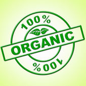 Hundred Percent Organic Indicates Healthful Absolute And Green — Stock Photo