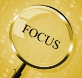 Focus Magnifier Indicates Aim Concentration And Research — Stock Photo