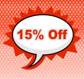 Fifteen Percent Off Represents Promotion Closeout And Promotional — Foto de Stock