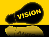 Vision Lightbulb Indicates Plans Plan And Target — Stock Photo