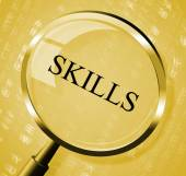 Skills Magnifier Shows Expertise Abilities And Competence — Stock Photo