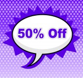 Fifty Percent Off Indicates Offer Sales And Sale — Stock Photo