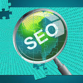 Seo Magnifier Shows Websites Magnifying And Website — Stock Photo