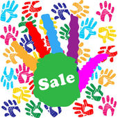 Kids Sale Shows Merchandise Multicolored And Promo — Stock Photo