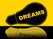 Dreams Lightbulb Indicates Hope Dreamer And Aim — Stock Photo