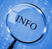 Info Magnifier Means Faq Magnification And Information — Stock Photo