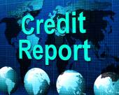 Credit Report Represents Debit Card And Analysis — Stock Photo