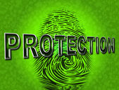Protection Fingerprint Indicates Password Login And Private — Stock Photo
