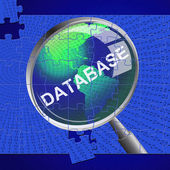 Database Magnifier Represents Search Magnify And Databases — Stock Photo