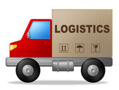 Logistics Truck Shows Strategies Logistical And Transporting — Stockfoto