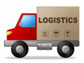 Logistics Truck Shows Strategies Logistical And Transporting — Zdjęcie stockowe