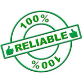 Hundred Percent Reliable Means Absolute Depend And Relying — Stock Photo