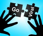 Go Viral Means Social Media Marketing And Connected — Stock Photo