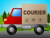 Courier Truck Indicates Lorry Postage And Parcel — Stockfoto