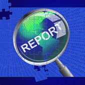 Report Magnifier Shows Magnifying Searching And Magnify — Stock Photo
