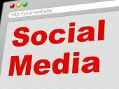 Social Media Indicates News Feed And Communicate — Stock Photo