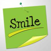 Smile Note Shows Happy Optimism And Correspondence — Stock Photo