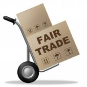 Fair Trade Indicates Shipping Box And Product — Stock Photo