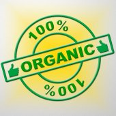 Hundred Percent Organic Means Healthful Healthy And Green — Stock Photo