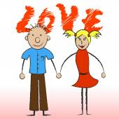 Love Couple Indicates Compassionate Devotion And Fondness — Foto Stock