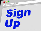 Sign Up Shows Subscribe Register And Online — Stock Photo