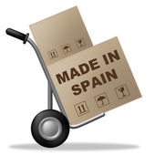 Made In Spain Shows Shipping Box And Cardboard — Stock Photo