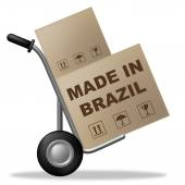 Made In Brazil Means Factory Trade And Package — Stock Photo