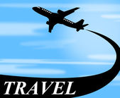 Travel Plane Means Touring Journey And Voyage — Stock Photo