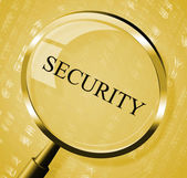 Security Magnifier Indicates Magnifying Secured And Searches — ストック写真