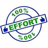 Hundred Percent Effort Represents Hard Work And Completely — Stock Photo