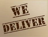 We Deliver Represents Delivering Shipping And Mark — Stock Photo