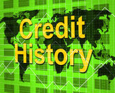 Credit History Indicates Debit Card And Analysis — Stock Photo