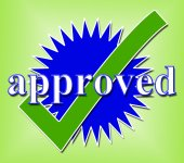 Approved Tick Indicates Approval Checkmark And Confirmed — Stock Photo