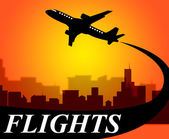 Flights Plane Shows Go On Leave And Aeroplane — Stock Photo