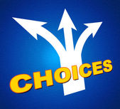 Choices Arrows Shows Choosing Alternative And Pointing — Stock Photo