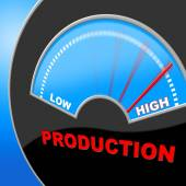 High Production Indicates Made In And Excessive — Stock Photo
