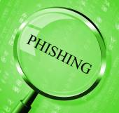 Phishing Magnifier Shows Crime Unauthorized And Magnification — Stock Photo