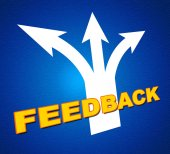 Feedback Arrows Shows Evaluate Reflection And Rating — Stock Photo