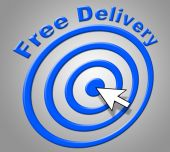 Free Delivery Means For Nothing And Delivering — Stock Photo