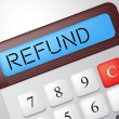 Постер, плакат: Refund Calculator Means Reimbursement Refunding And Return