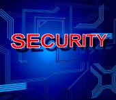 Security Sign Indicates Digital Forbidden And Protect — Stock Photo