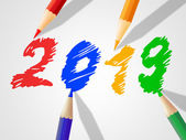 Twenty Nineteen Indicates New Year And Annual — Stock Photo