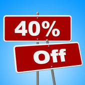 Forty Percent Off Means Signboard Savings And Signs — Stock Photo