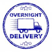 Overnight Delivery Stamp Shows Next Day And Courier — Stock Photo