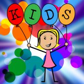 Kids Balloons Shows Youths Female And Youngster — Stock Photo