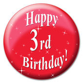 Happy Third Birthday Represents Party Congratulating And Celebrate — Stock Photo