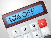 Forty Percent Off Shows Offer Calculation And Sale — Stock Photo