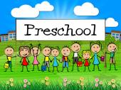 Preschool Kids Banner Represents Childrens Toddlers And Childhoo — Foto de Stock